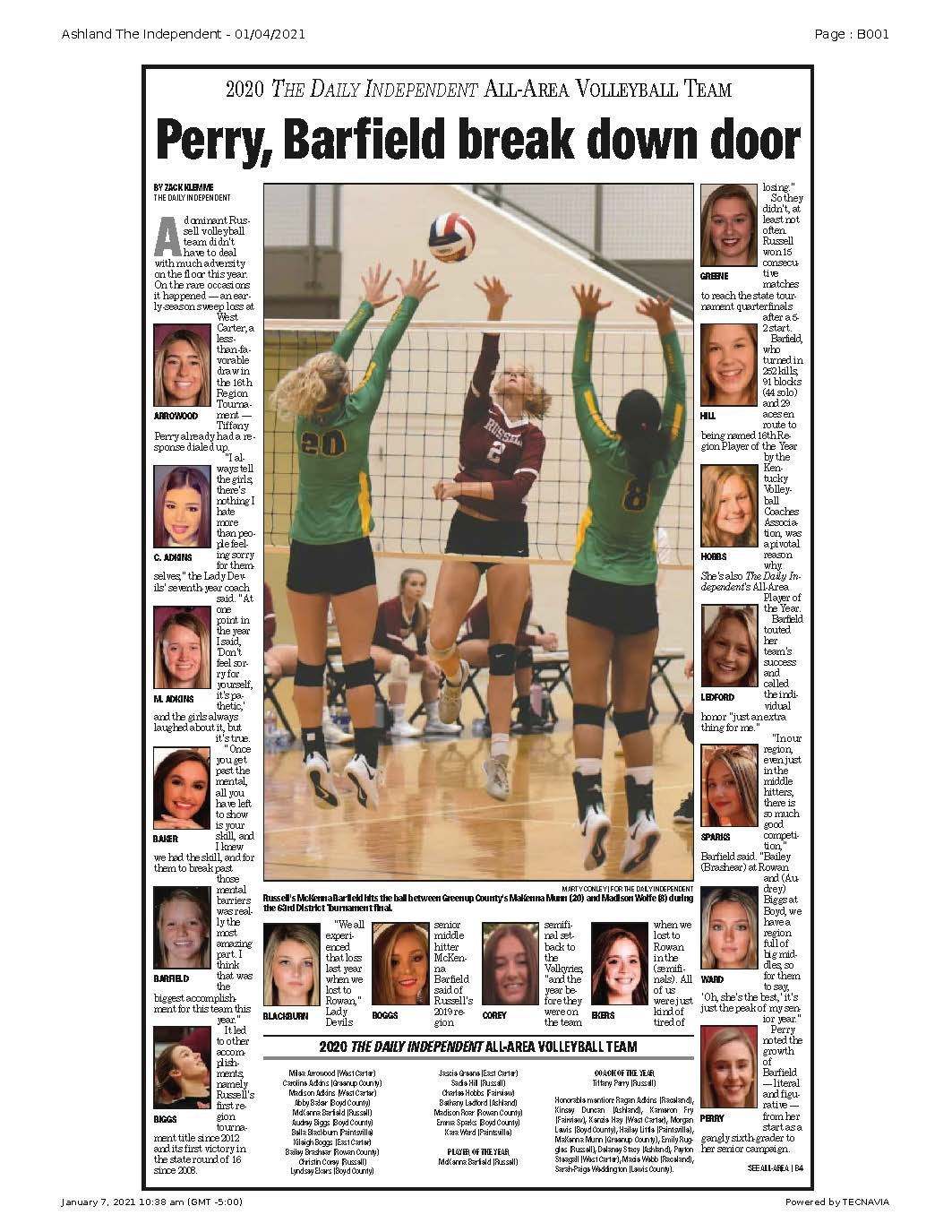 2020 All Area Volleyball