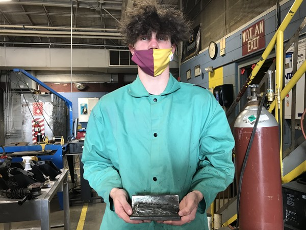 Cory's first weld this year!  So proud of how straight his lines are!  Great job!  Keep working hard!