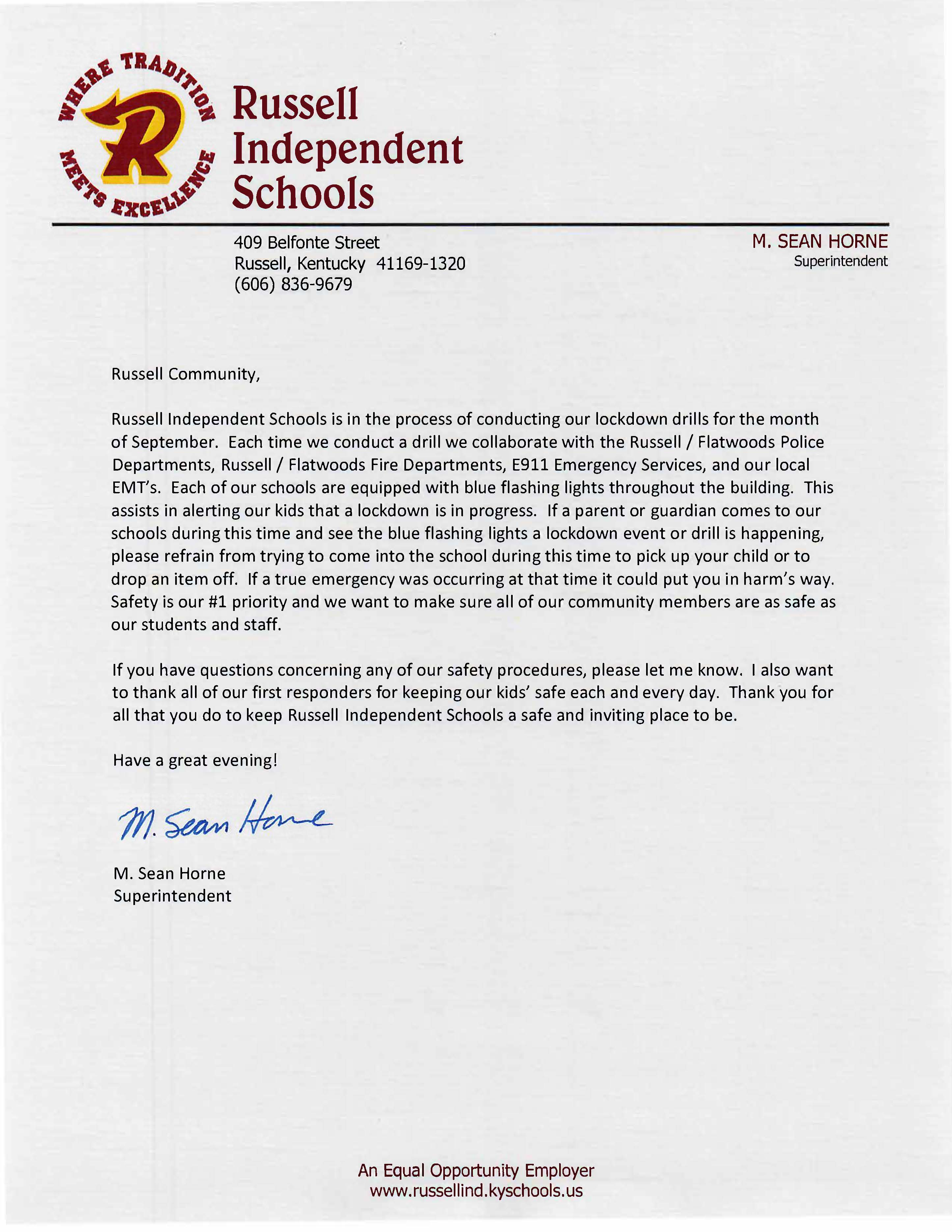 Message from Superintendent Horne