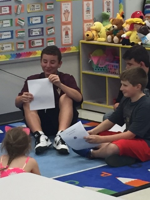 "Erica Bergmann's 7th graders visited the preschool  and read ""reimagined"" nursery rhymes they wrote to the little ones."